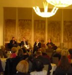 Literarischer Salon: Christiane Hempel, Horst Thieme, Eva Leipprand und Klaus Müller (v.L.n.R.)
